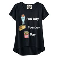 Girls 7-16 Fun Day Patches High-Low Graphic Tee