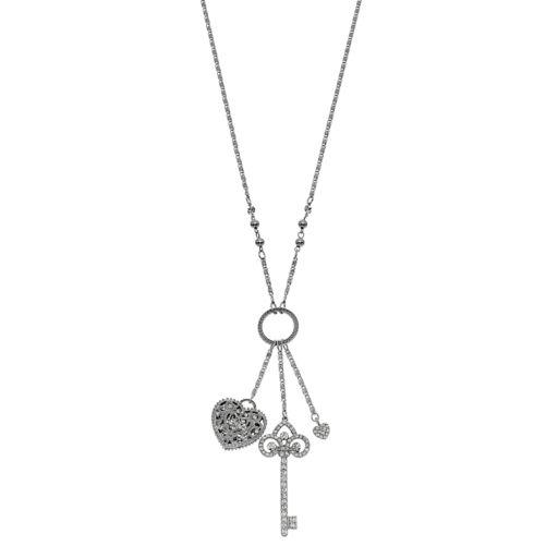 Heart & Key Charm Necklace