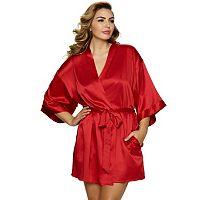 Plus Size Jezebel Gem Satin Kimono Robe