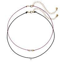LC Lauren Conrad Tri Tone Beaded Cord Choker Necklace Set