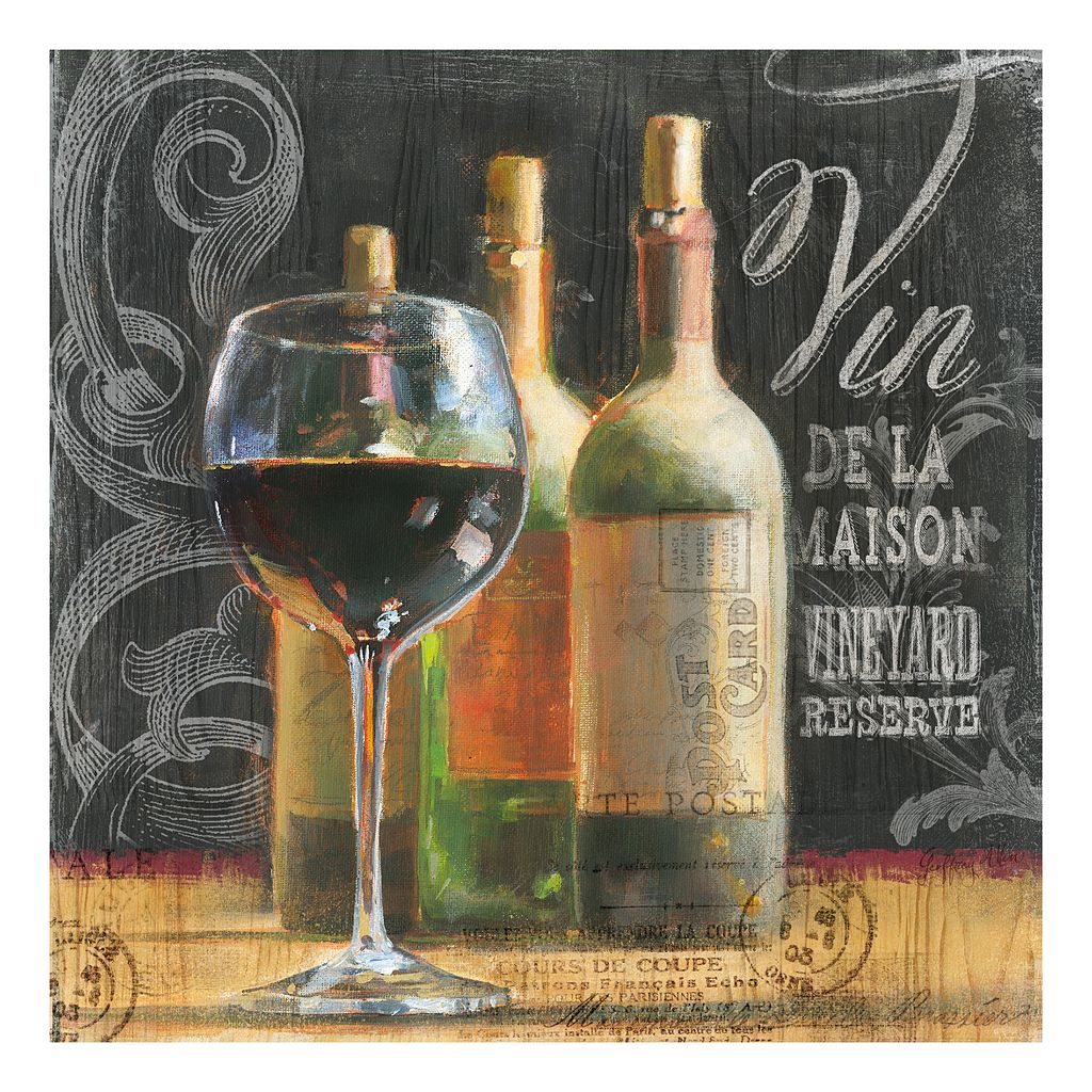 Blackboard Wine 1 Glass 3 Bottles Canvas Wall Art