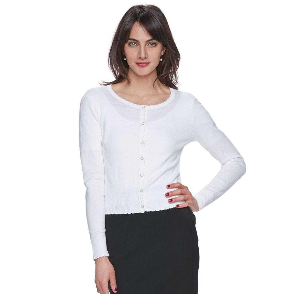 Women's ELLE™ Scalloped Cardigan