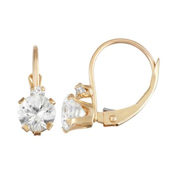 10k Gold Round-Cut Lab-Created White Sapphire & White Zircon Leverback Earrings
