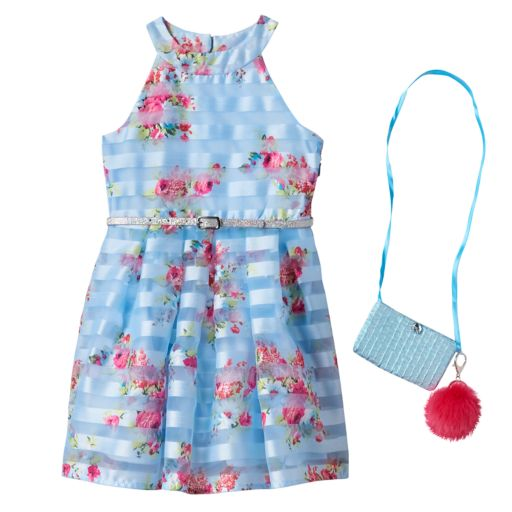 Girls 4-6x Knitworks Belted Floral Burnout Stripe Halter Dress with Crossbody Accessory Purse