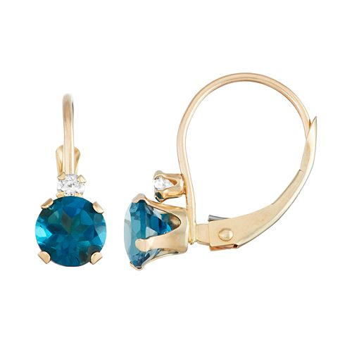 10k Gold Round-Cut London Blue Topaz & White Zircon Leverback Earrings