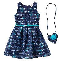 Girls 4-6x Knitworks Belted Floral Burnout Stripe Dress with Crossbody Accessory Purse