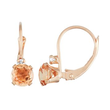 10k Rose Gold Round-Cut Simulated Morganite & White Zircon Leverback Earrings