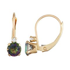 10k Gold Round-Cut Mystic Fire Topaz & White Zircon Leverback Earrings