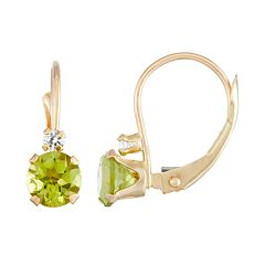 10k Gold Round-Cut Peridot & White Zircon Leverback Earrings