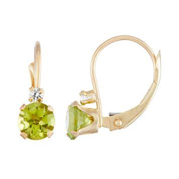 10k Gold Round-Cut Peridot & White Zircon Leverback Earrings