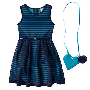 Girls 4-6x Knitworks Belted Burnout Stripe Dress with Crossbody Accessory Purse