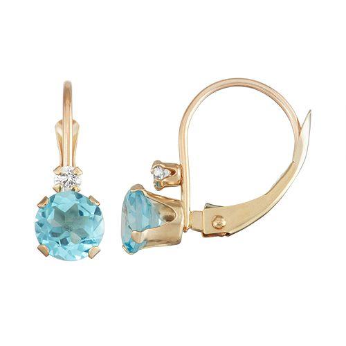 10k Gold Round-Cut Swiss Blue Topaz & White Zircon Leverback Earrings