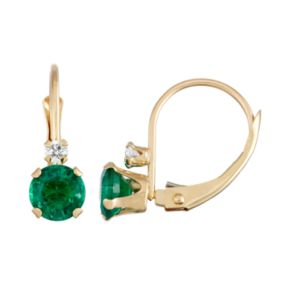 10k Gold Round-Cut Lab-Created Emerald & White Zircon Leverback Earrings