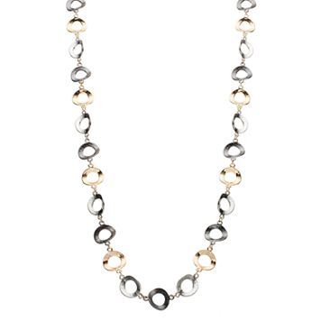 Tri Tone Long Hammered Circle Link Necklace