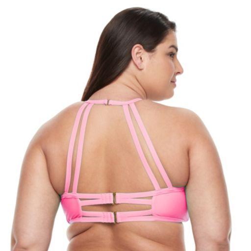 Plus Size Island Soul Crochet High-Neck Halter Bikini Top