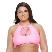 Plus Size Island Soul Crochet High-Neck Halter Bikini Top