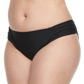 Juniors' Plus Size Island Soul Solid Hipster Bikini Bottoms