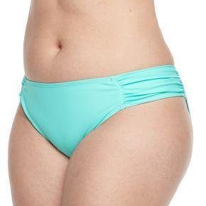 Juniors' Plus Size Island Soul Solid Hipster Bikini Bottoms