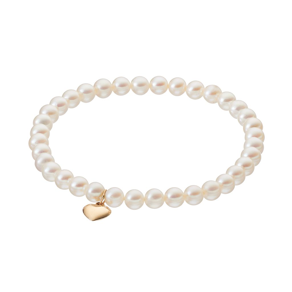 Freshwater Cultured Pearl 14k Gold Heart Charm Beaded Stretch Bracelet