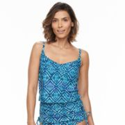 Women's Beach Scene Geometric Blouson Tankini Top