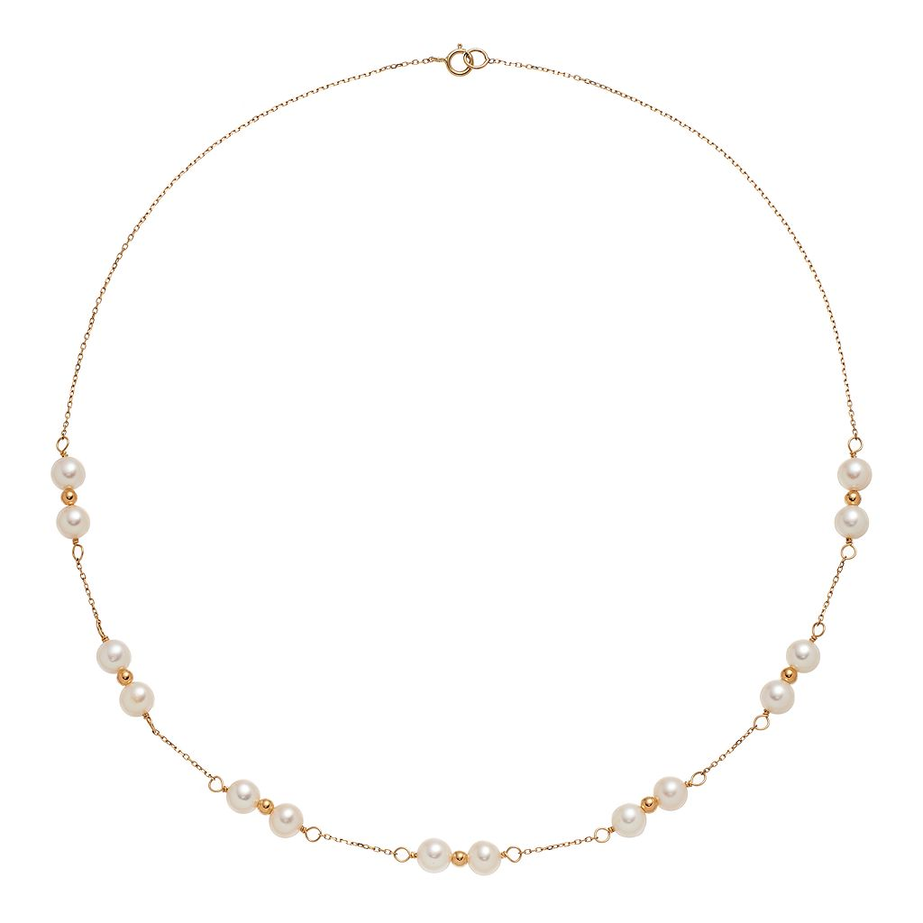 14k Gold Freshwater Cultured Pearl Beaded Station Necklace