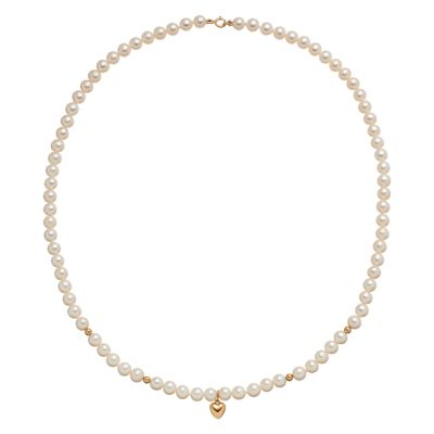 14k Gold Freshwater Cultured Pearl Heart Charm Necklace
