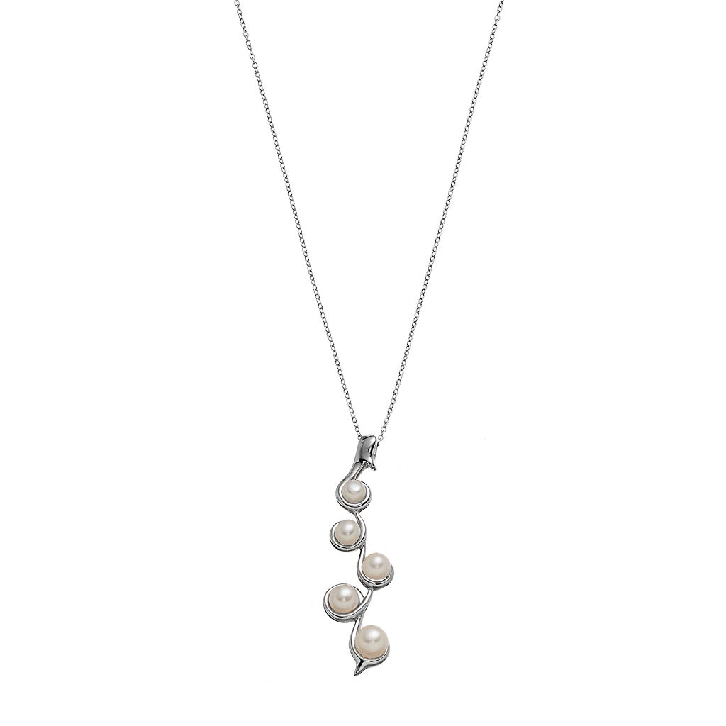 Sterling Silver Freshwater Cultured Pearl Graduated Pendant