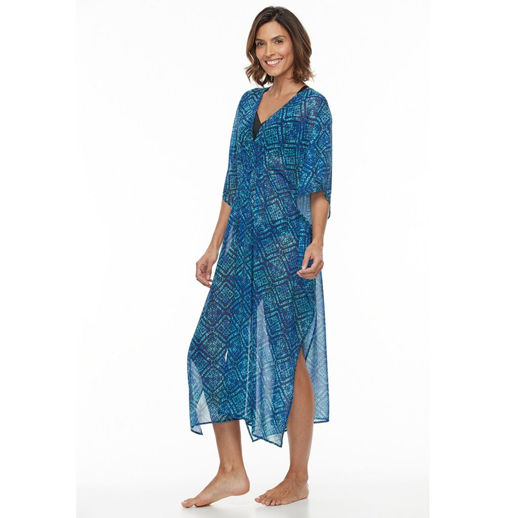 Women's Beach Scene Geometric Caftan Cover-Up