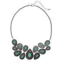 Mudd® Antiqued Aqua Teardrop Statement Necklace