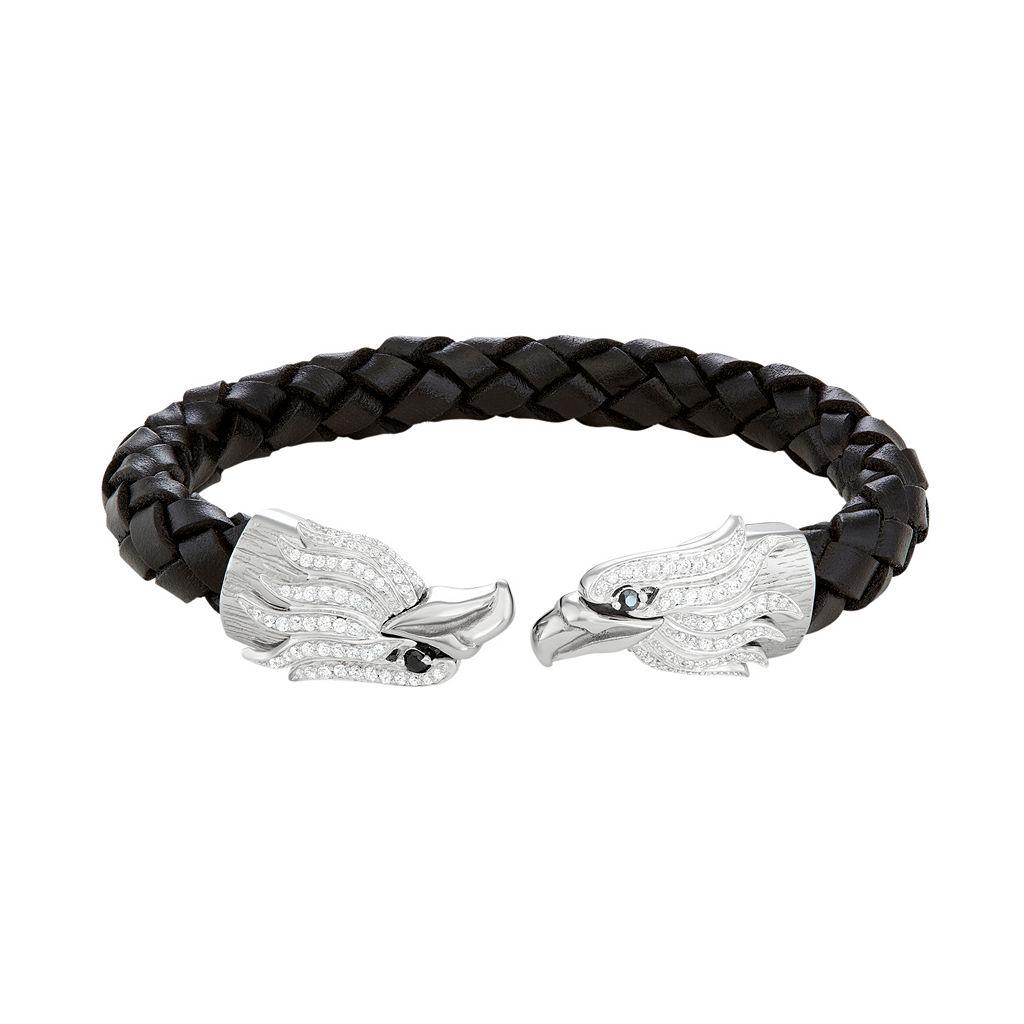 Men's Stainless Steel & Black Leather Cubic Zirconia Eagle Cuff Bracelet