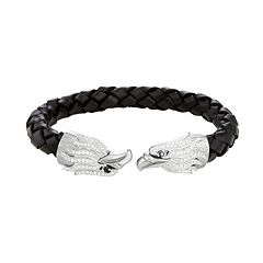 Men's Stainless Steel & Black Leather Cubic Zirconia Eagle Cuff Bracelet
