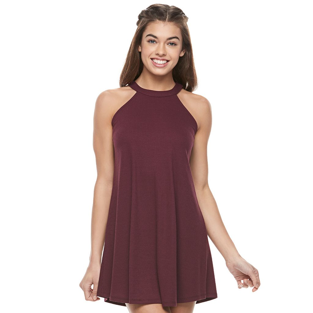 Juniors' Love, Fire Halter Ribbed Dress