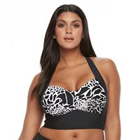 Plus Size Beach Scene Printed Longline Halterkini top
