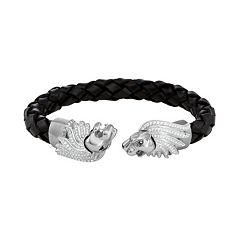 Men's Stainless Steel & Black Leather Cubic Zirconia Lion Cuff Bracelet
