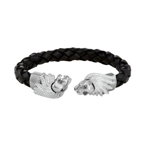 Men's Stainless Steel & Black Leather Cubic Zirconia Lion Cuff Bracelet