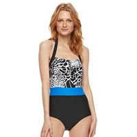 Women's Beach Scene Colorblock One-Piece Swimsuit