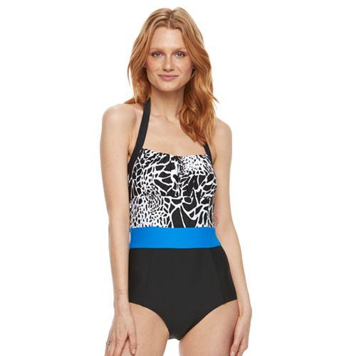 Women's Beach Scene Colorblock One-Piece Swimsuit