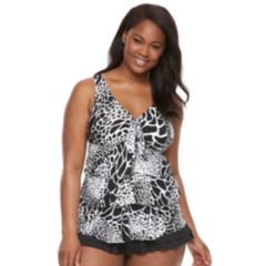 Plus Size Beach Scene Abstract Tiered Tankini Top