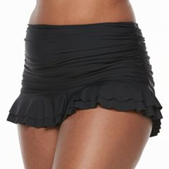 Plus Size Beach Scene Ruched Skirtini Bottoms