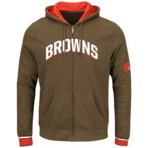 Big & Tall Majestic Cleveland Browns Wordmark Full-Zip Hoodie