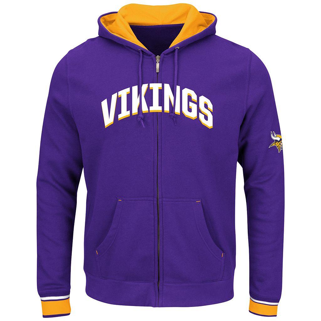 Big & Tall Majestic Minnesota Vikings Wordmark Full-Zip Hoodie