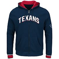 Big & Tall Majestic Houston Texans Wordmark Full-Zip Hoodie