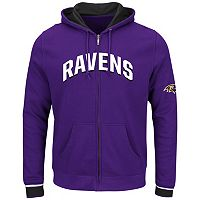 Big & Tall Majestic Baltimore Ravens Wordmark Full-Zip Hoodie