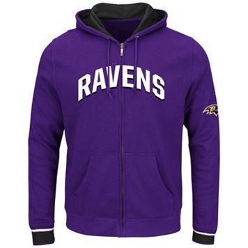 Big & Tall Majestic Baltimore Ravens Wordmark Full-Zip Hoodie