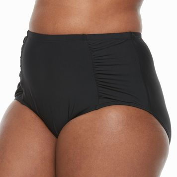Plus Size Beach Scene Ruched High-Waisted Brief Bottoms