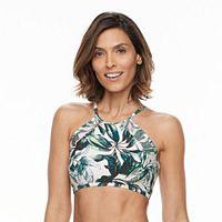 Women's Beach Scene Mesh Palm High-Neck Bikini Top