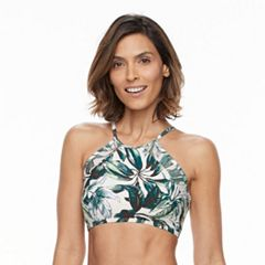 Women's Beach Scene Mesh Palm High-Neck Bikini Top