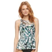 Women's Beach Scene Mesh Peplum Tankini Top