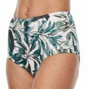 Women's Beach Scene Leaf High-Waisted Brief Bottoms