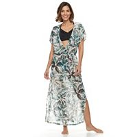 Women's Beach Scene Leaf Chiffon Cover-Up